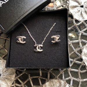 Silver Chanel necklace and earring set